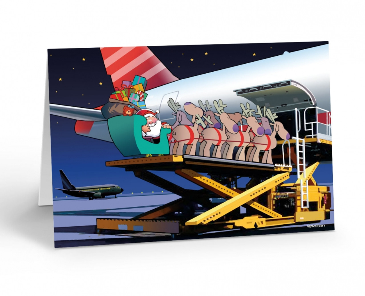 """Loading Santa's Sleigh"" Christmas Card Pack"