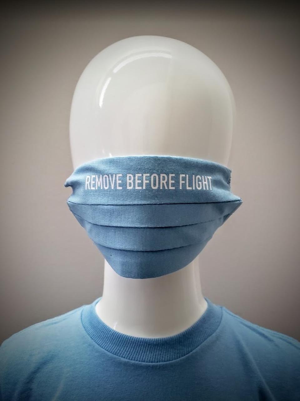 Childrens Reusable Mask: Remove Before Flight Blue