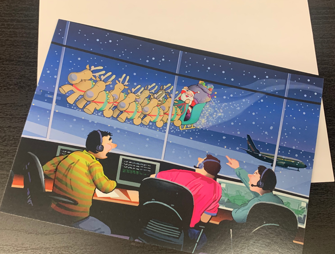 """"""" Airport Control Tower Flyby  Christmas """" Single Card"""