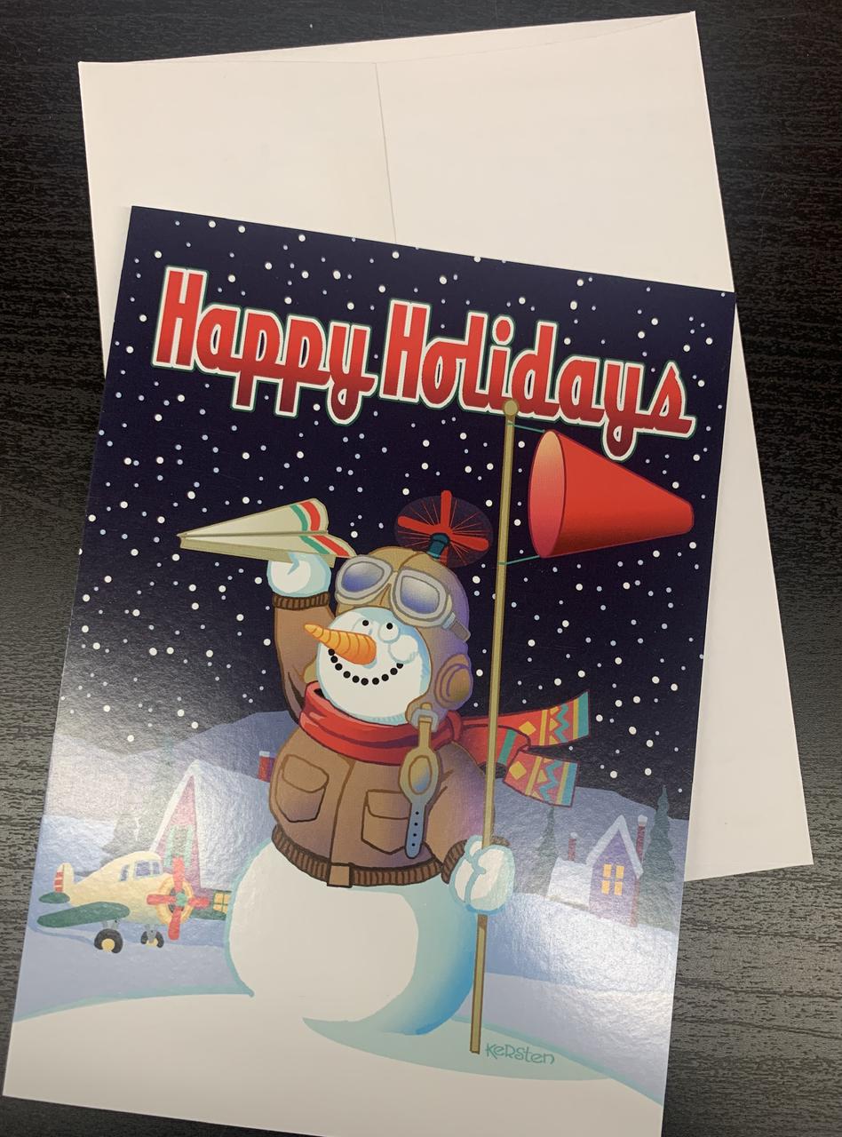 """ Aviation Snowman "" Single Card"