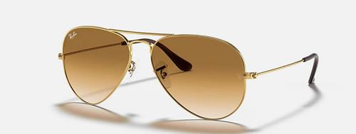 Ray-Ban Aviator Light Brown Gradient Lens Gold Frame Sunglasses