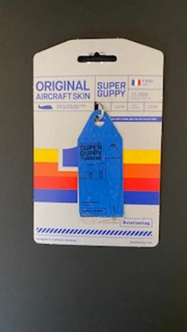 AviationTag Super Guppy Keychain - Split Blue - Silver (#3854)
