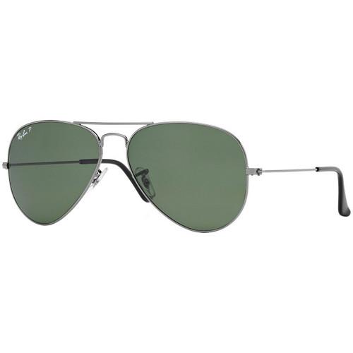 Ray-Ban Polarized Aviator Classic Green lens Gunmetal Frame Sunglasses