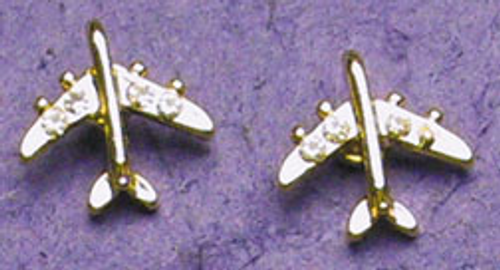 Earrings - Gold-tone Plane with Rhinestones