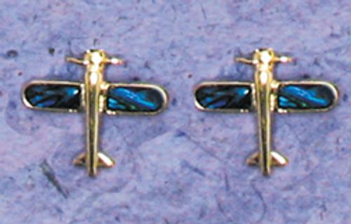 Earrings - Paua Shell Airplane with Rhinestones