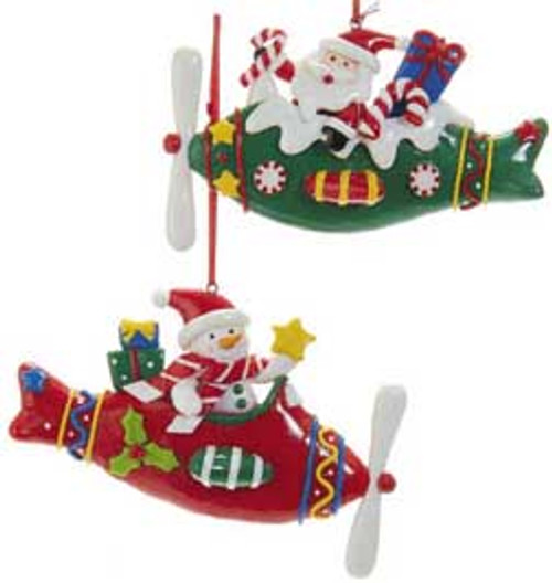Snowman and Santa Christmas Ornament. (Green)