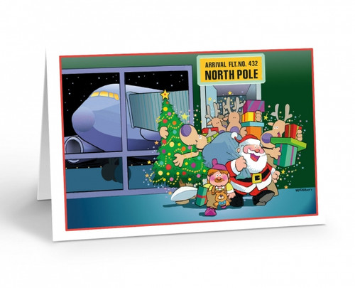 """North Pole Airport Arrival"" Christmas Card Pack"