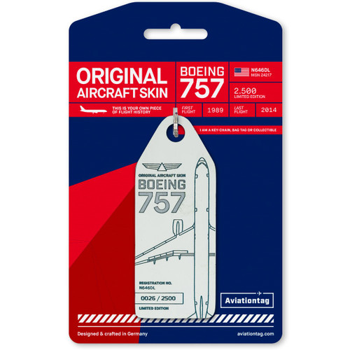 AviationTag Boeing 757 Keychain  - N646DL