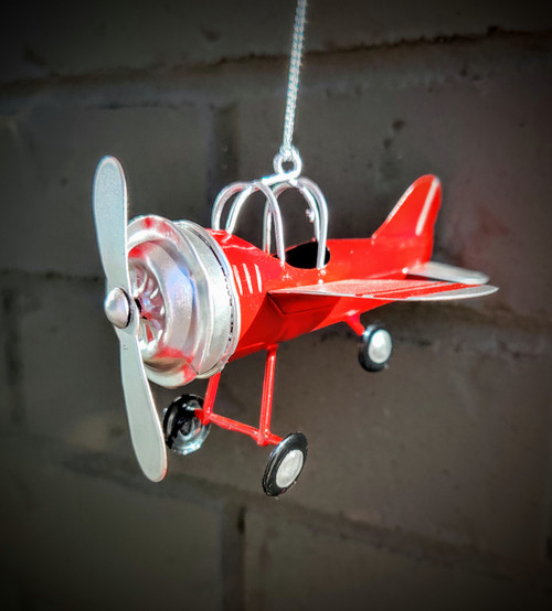 Red & Silver Airplane Ornament
