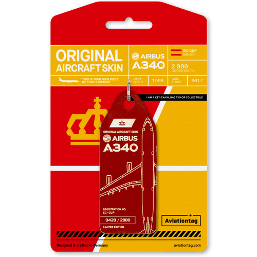 AviationTag Airbus A340 Keychain  - EC-GUP - Dark Red