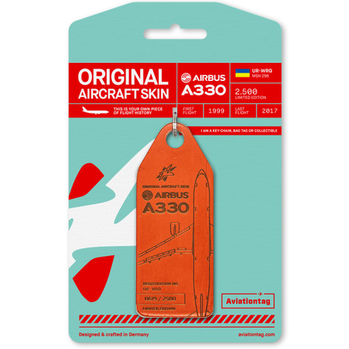 AviationTag Airbus A330 Keychain  - UR-WRQ - Orange