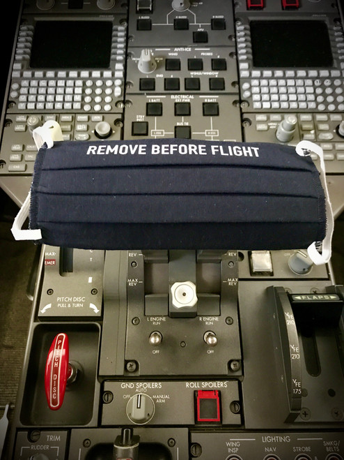 "Reusable Aviation Mask: ""REMOVE BEFORE FLIGHT"" (Colour: dark blue) (Mask-4"