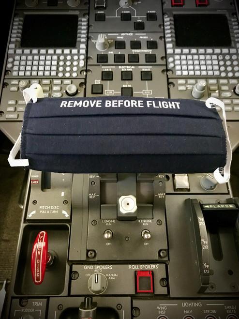 "Reusable Aviation Mask: ""REMOVE BEFORE FLIGHT"" (Colour: dark blue) (Mask-4"