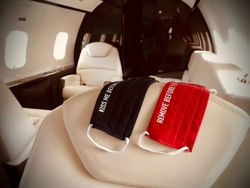 "Reusable Aviation Mask: ""KISS ME BEFORE FLIGHT"" (Colour: DARK BLUE) (Mask-5)"