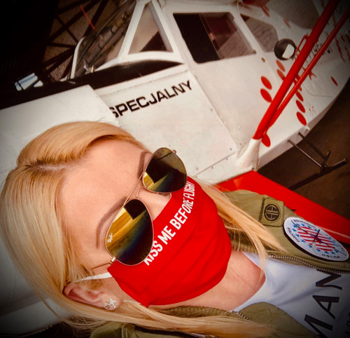 "Reusable Aviation Mask: ""KISS ME BEFORE FLIGHT"" (Colour: RED) (Mask-6)"