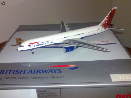 Herpa 1:200 British Airways (Golden Khokhloma - Russia) 757-200 (Copy of HE557207)
