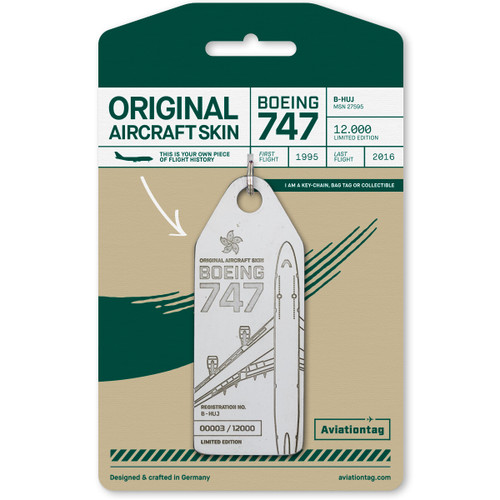 AviationTag Boeing 747-400 Keychain - B-HUJ - White