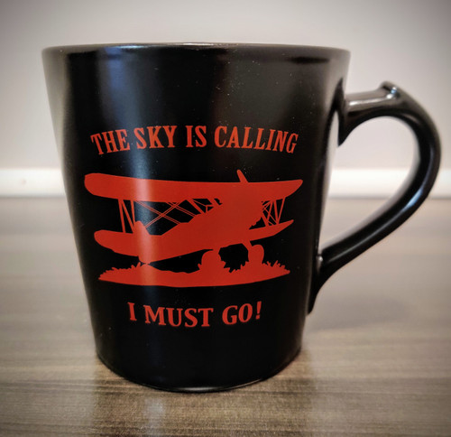 """The Sky is Calling, I Must Go!"" Mug (red)"