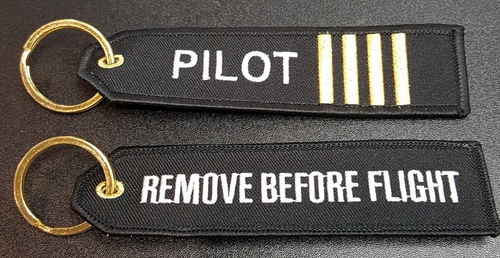 Embroidered Keychain - Pilot stripes/Remove Before Flight