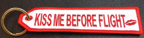 Embroidered Keychain - Kiss me before flight