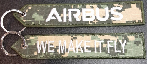 """Embroidered Keychain - Airbus """"WE MAKE IT FLY"""""""