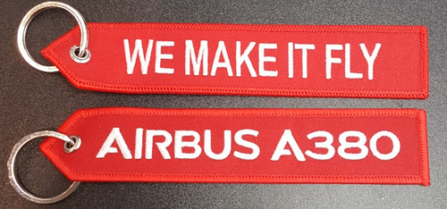 "Embroidered Keychain - Airbus A380 ""WE MAKE IT FLY"""