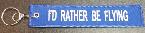 "Embroidered Keychain - ""I'D RATHER BE FLYING"""