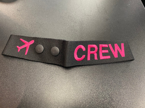 Crew Embroidered Luggage Tag (Pink)