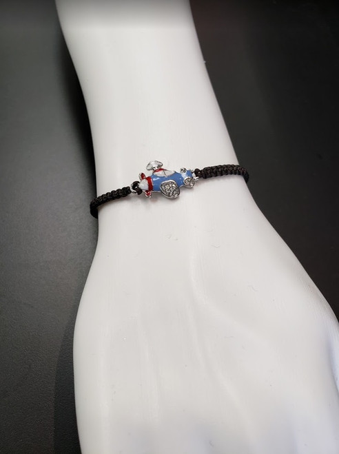 Bracelet - Blue airplane cord with rhinestones