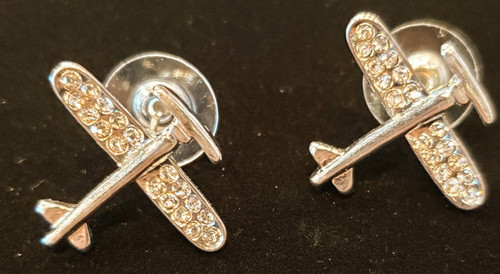 Earrings - Gold-tone Airplane with Rhinestones