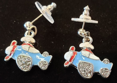 Earrings - Lacquered blue airplane pendant with rhinestones