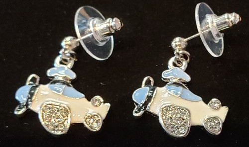 Earrings - Lacquered white airplane pendant with rhinestones