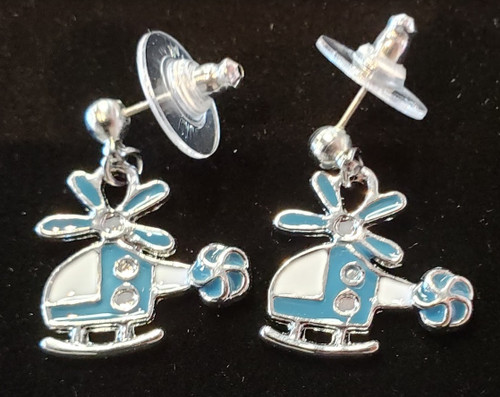 Earrings - Lacquered blue helicopter pendant