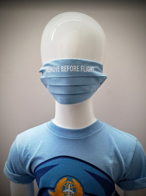 Childrens Reusable Mask: Remove Before Flight Blue