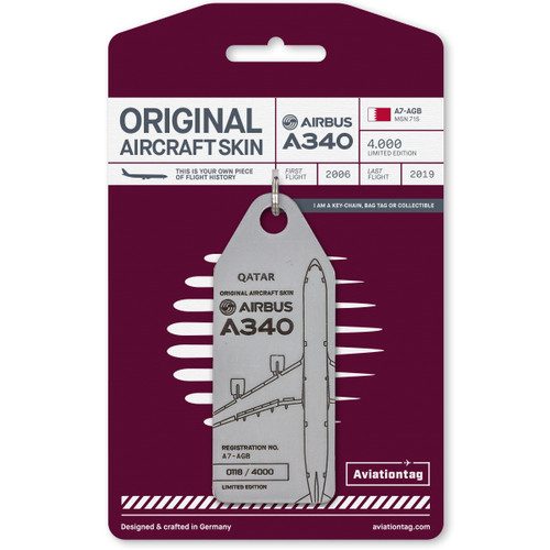 AviationTag Airbus A340-600 Keychain -A7-AGB