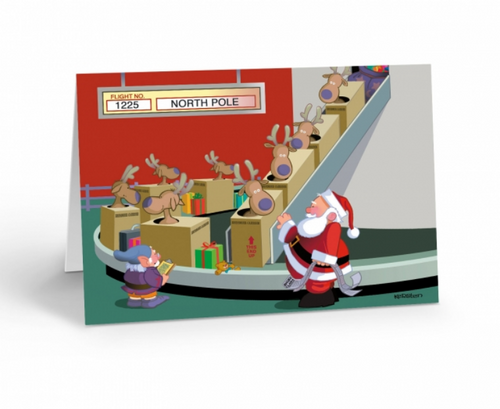 """Baggage Claim - Airport Card"" Christmas Card pack"