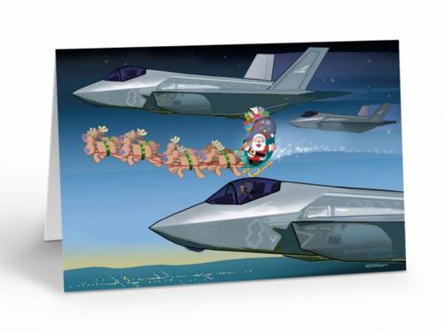 """F-35 Lightning II Escorts Santa"" Christmas Card pack"
