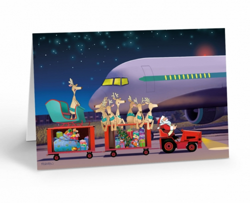 """Airport Baggage Handling"" Christmas Card pack"