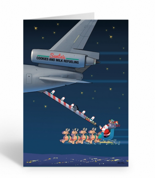 """Refueling Santa"" Christmas Card pack"