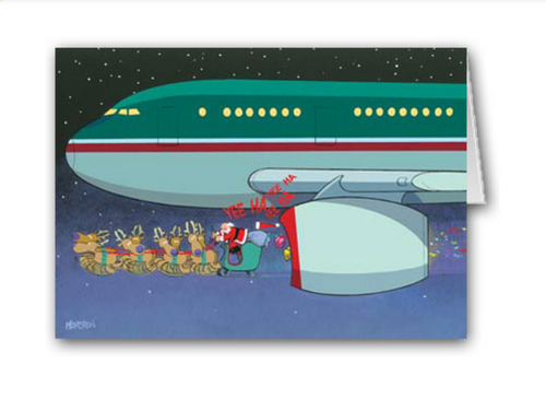 """Airplane Chase"" Christmas Card pack"
