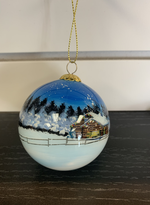 Airplane Painted Scene Holiday Ornament