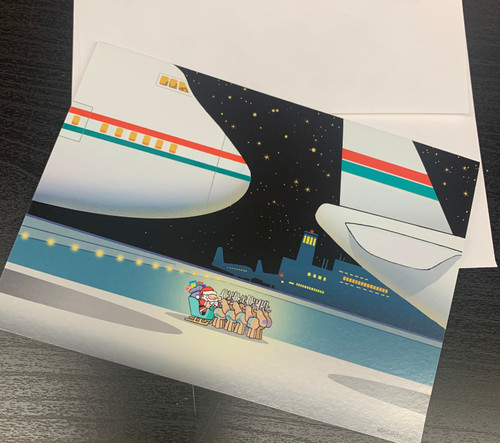 """ Waiting for Clearance Airplane Christmas "" Single Card"