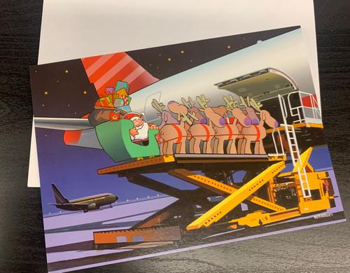 """Loading Santa's Sleigh Into Airplane Christmas "" Single Card"