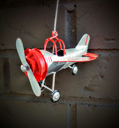 Silver & Red Airplane Ornament