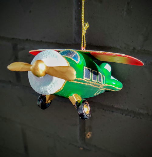 Green Glass Airplane Ornament