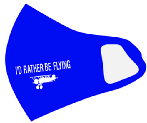 Reusable Aviation Mask: I'd Rather Be Flying ROYAL BLUE