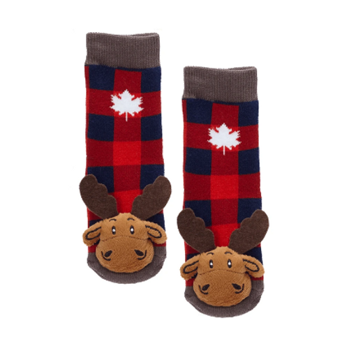Baby Plaid Moose w/Maple Leaf Socks