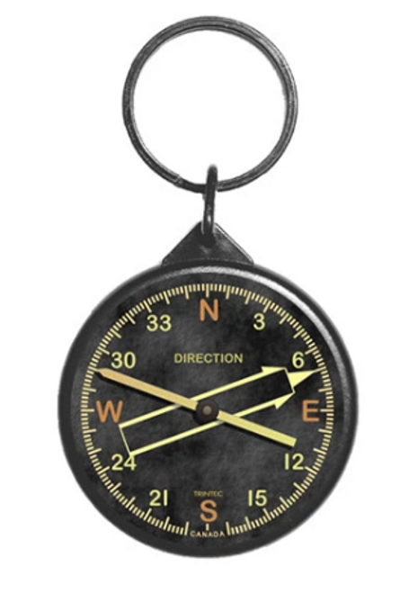 Vintage Directional Gyro Instrument Keychain