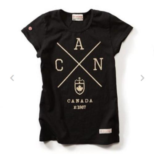 Canada Cross Ladies T-Shirt (Black)