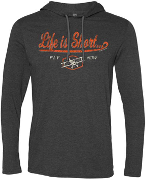 Life is Short Fly Now Hoodie (Grey/Orange)